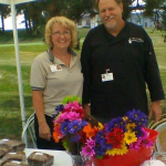 Directors of Dining Services Lisa Waysack, Copper Ridge & Bob Escolopio, Fairhaven, at the market run by both facilities.