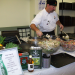 Exec. Chef Matt Jarrett prepares meal using local produce in cafeteria at Franklin Square Hospital.